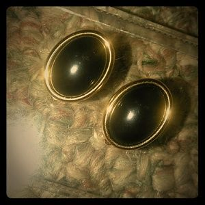 Trifari Clip on gold and black earrings
